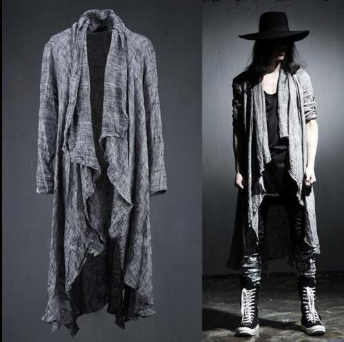 2019 men/'s punk asymmetric ponchos trench long Korean cloak cape linen jackets