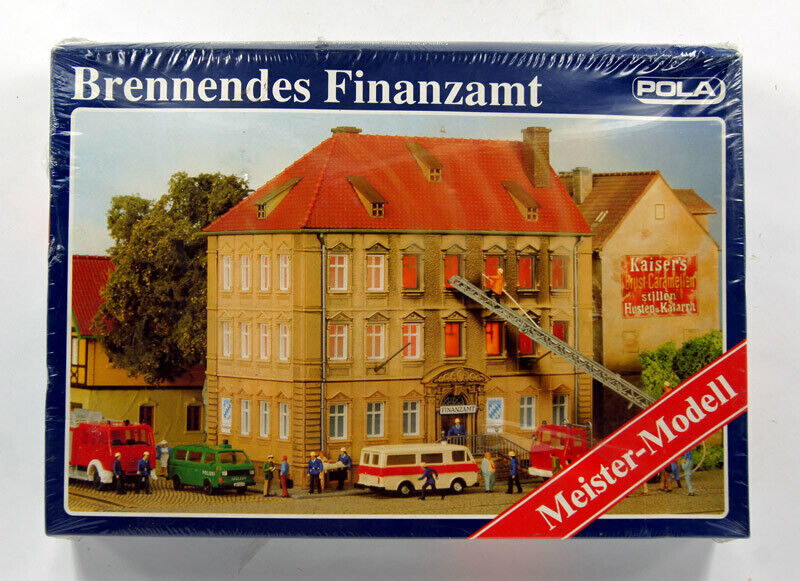 POLA MEISTER-MODELL 160 HO H0 KIT TAX OFFICE ON FIRE , Brennendes Finanzamt
