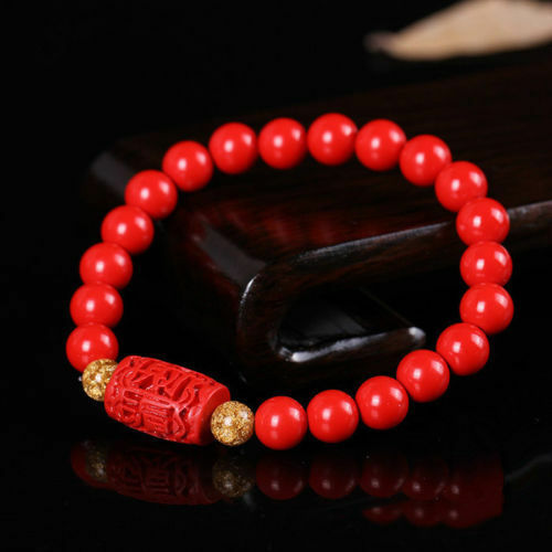 Chinese Natural Red Organic Cinnabar Elastic Bracelet Lucky Amulet