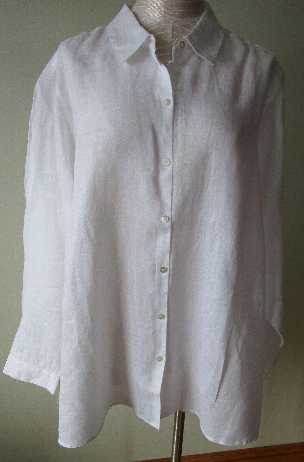 J.Jill     Linen   shirt      2X     NWT      Essential Linen  Weiß