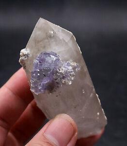 130g-Rare-Transparent-Purple-034-Phantom-034-Fluorite-Crystal-Mineral-Specimen-China