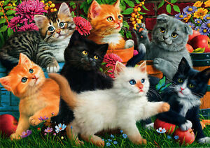 500-Pieces-Jigsaw-Puzzle-Cute-Kittens-amp-Flowers-Brand-New-amp-Sealed