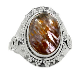Bali-Design-Cacoxenite-925-Sterling-Silver-Ring-Jewelry-s-8-RR199207