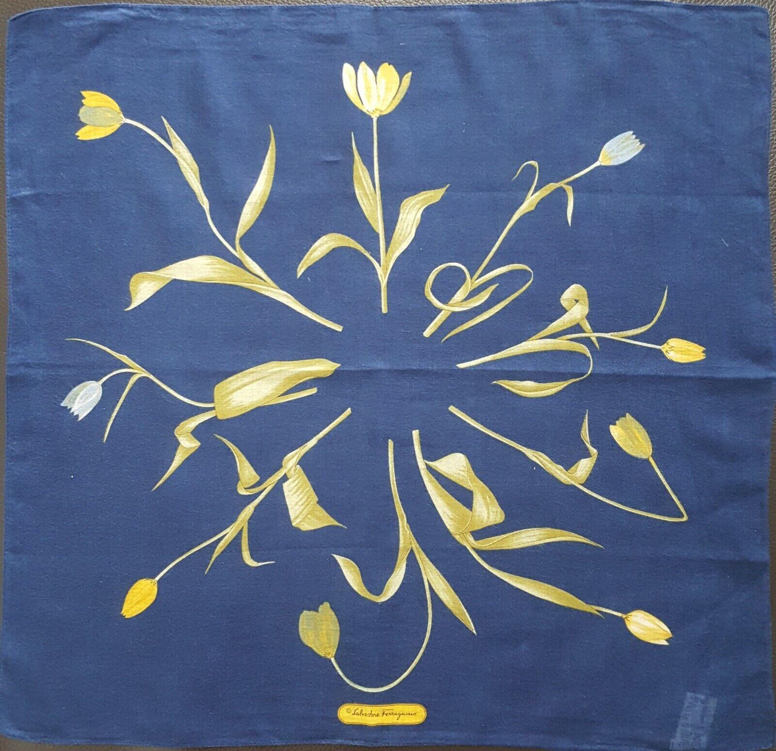 Salvatore FerragamoBlue Floral Flowers Unisex Square Thin Handkerchief 16