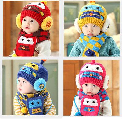 Car Baby Boys Girls Kids Winter Warm Hats Scarf and Cap Set Earflap Beanie Gift