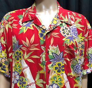 92aa5ee7 Tommy Hilfiger Hawaiian Shirt Mens XXL Red Floral Bamboo Flowers ...
