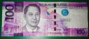100-Pesos-Philippines-Banknote-Unique-SN-BA077777