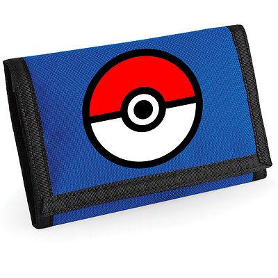 Pokemon Ripper Wallet money holder Pokeball Inspired Retro Purse Blue