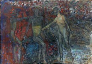 Expressionist-Ol-Leinwand-034-Hinrichtung-034-75-x-53-cm