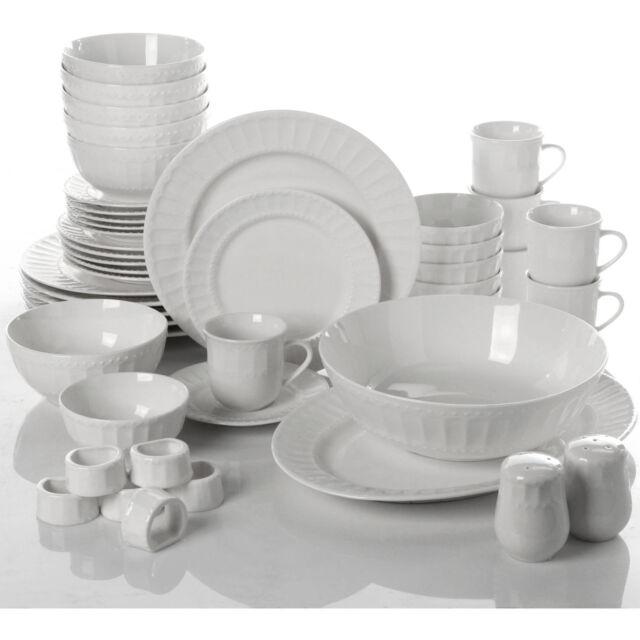 Fine China Dinnerware Set 46 Piece Microwave Dishwasher Safe White