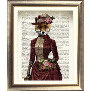 ART-PRINT-ON-ORIGINAL-ANTIQUE-BOOK-PAGE-FOX-DICTIONARY-Animal-Vintage-Picture