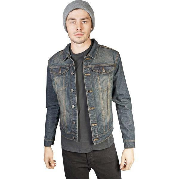 e215ca2bb Lip Service Mens Vintage Washed Slim Fit Denim Trucker Jacket MSRP $170