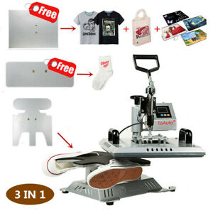 Details About 3 In 1 Heat Press Transfer Machine Sublimation T Shirt Canvas Shoes Diy Printing