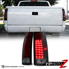 1988-1998 Chevy GMC C/K 1500 2500 3500 [CHERRY RED] Smoke LED Tail Lights Lamps