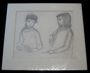 newest collection 6e815 03adc Image is loading 1960s-Original-Irving-Amen-Pencil-Drawing-of-Two-