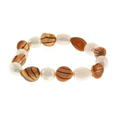 """7/"""" Culture D/'eau Douce Marron et Blanc Perle Extensible Bracelet"""