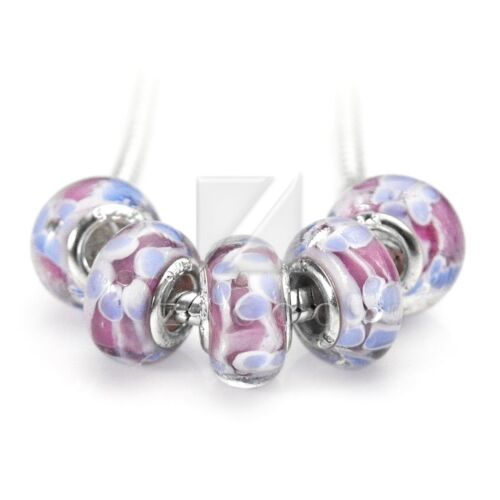 5pcs//10pcs European Murano en verre ronde perles charms bracelet handmade Bijoux