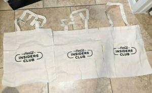 3 Coca Cola Insiders Club Reusable Grocery Tote Bags Collectors Item NEW