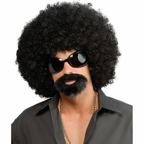 70/'s Afro Man Instant Costume Kit Wig with Glasses and beard//moustache