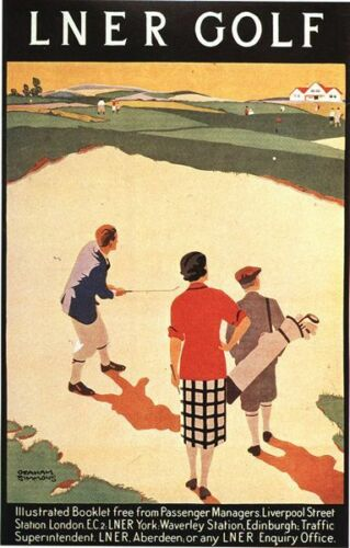 Vintage 1930/'s LNER Golfing Holidays Railway Poster A3//A2//A1 Print