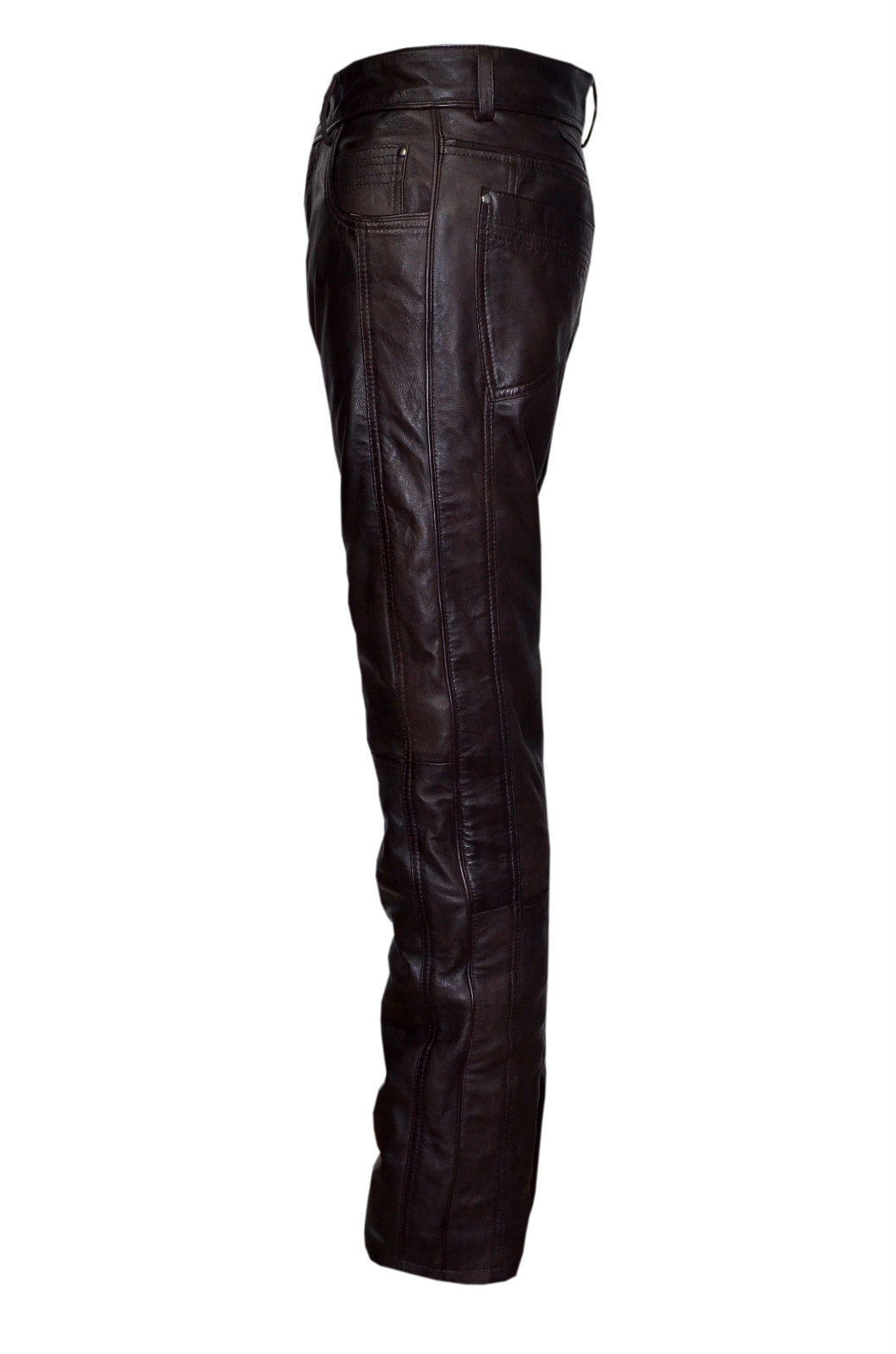 Da Uomo Classici Slim Fit Stile Biker Pantaloni Pantaloni Pantaloni In Pelle Marronee Napa JEANS DA MOTO edc99d