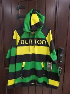NEW-Burton-Hoodie-Dryride-Thermex-sz-Medium-Pop-Stripe-Green-Black-Jacket-Zip