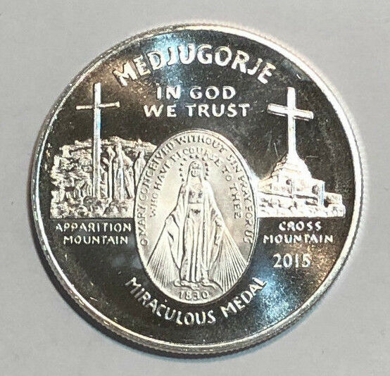 2011 15 Medjugorje Miraculous Medal 1 Oz 999 Fine Silver
