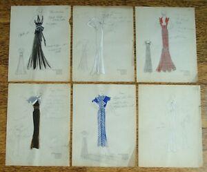 6 1930 S Vintage Fashion Designer Original Color Drawings Lesser Condition Ebay