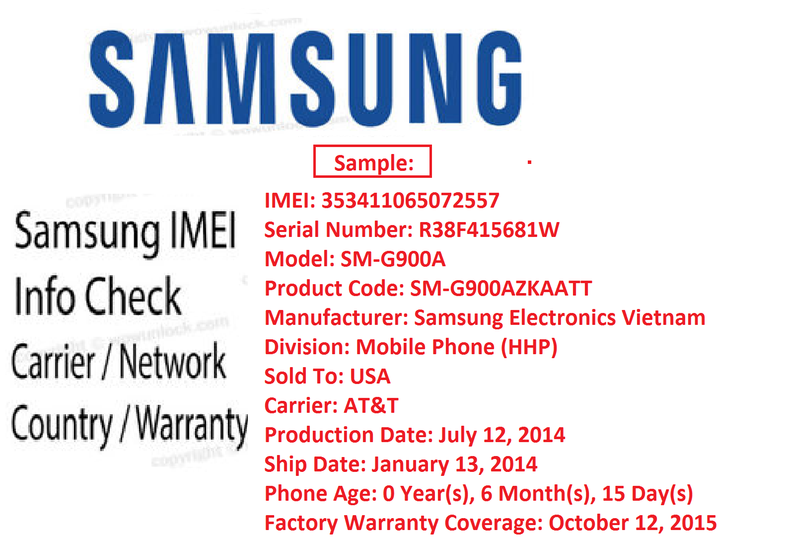 SAMSUNG FULL IMEI INFO CHECK REPORT Country Carrier Warranty - FAST