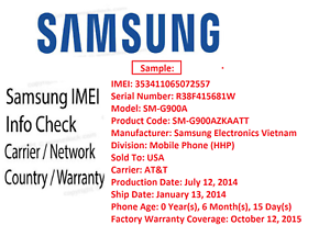 Details about SAMSUNG FULL IMEI INFO CHECK REPORT Country Carrier Warranty  - FAST