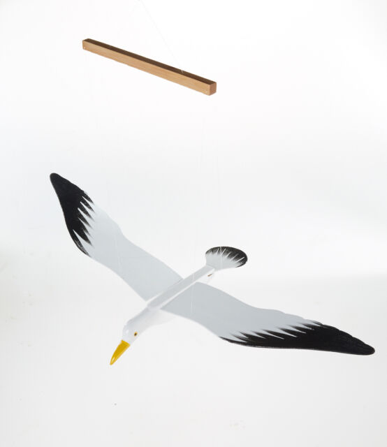 White Seagull Hanging Mobile Wood Painted Bird Handmade Porch Home Garden Decor