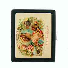 Vintage Tobacco Labels Themed D7 Small Black Cigarette Case Card Money Holder