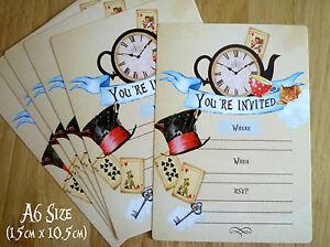 Vintage Alice In Wonderland Invitations A6 Wedding Birthday Tea