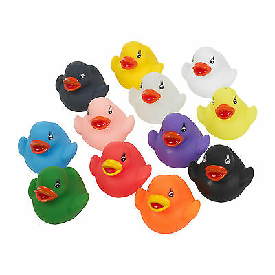 12 Floating Multi Coloured Rubber Bath Ducks Baby Fun Toy In Tub Gift Present