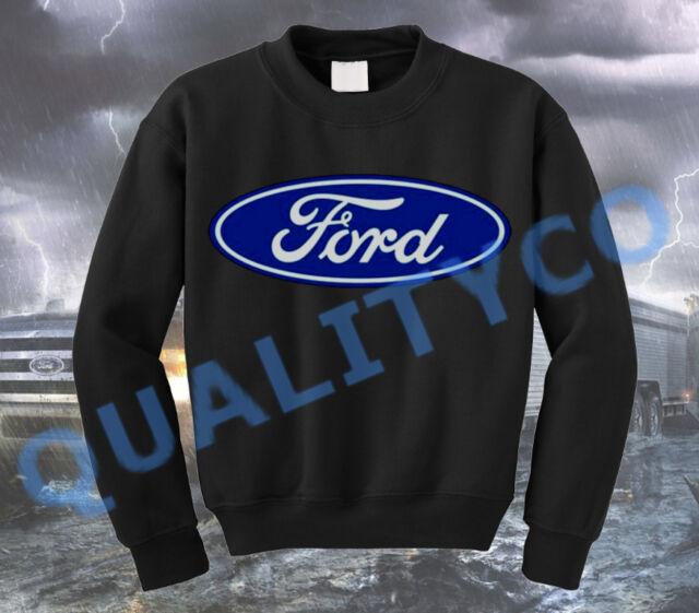 Men's Ford Logo Black Sweatshirt Sweater XS-3XL Classic Shelby Mustang Truck