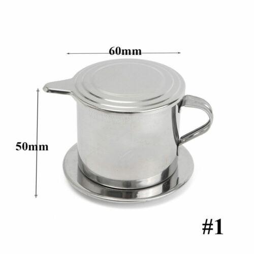 Silver Stainless Steel Vietnam Pot Slow-Drip Filter Kitchen Coffee Brewing Maker