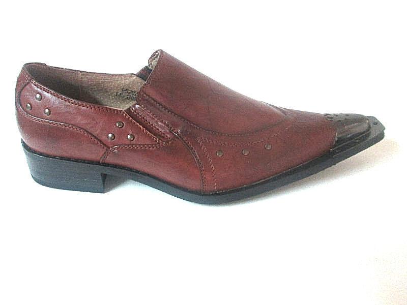 Majestic Brown Slip-On Loafer Men Dress shoes Pointy-Toe Steel Tip 95202 RARE