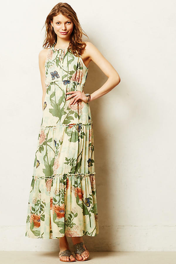 New Anthropologie Maeve Tiered Tiered Tiered Maravilla Maxi Dress Size 2 Green Motif 4e4715
