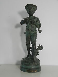 100% De Qualité Hippolyte Moreau Flute Champêtre Statue Garcon Bronze Medaille D' Or Xixe 44cm