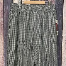 New With Tag Chef Works Gingham Checkered Print Elastic Waist Baggy Pants Large