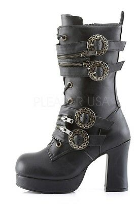 "Demonia 3.75"" Heel Black Gothic Steampunk Calf Buckle Boots 6 7 8 9 10 11 12"