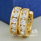 9K 9CT Yellow GOLD GF Round CUT SWAROVSKI Lab Diamond Huggie EARRINGS ES443