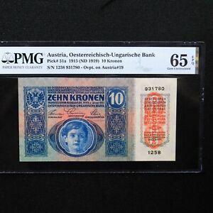 Austria-1915-ND-1919-10-Kronen-Pick-51a-PMG-65-EPQ-Gem-Uncirculated