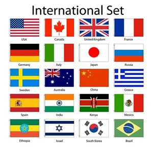 international 3x5 flag set of 20 country countries polyester flags
