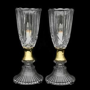 Vintage Hollywood Regency classique en verre pressé abat-jour lampes de table-une paire