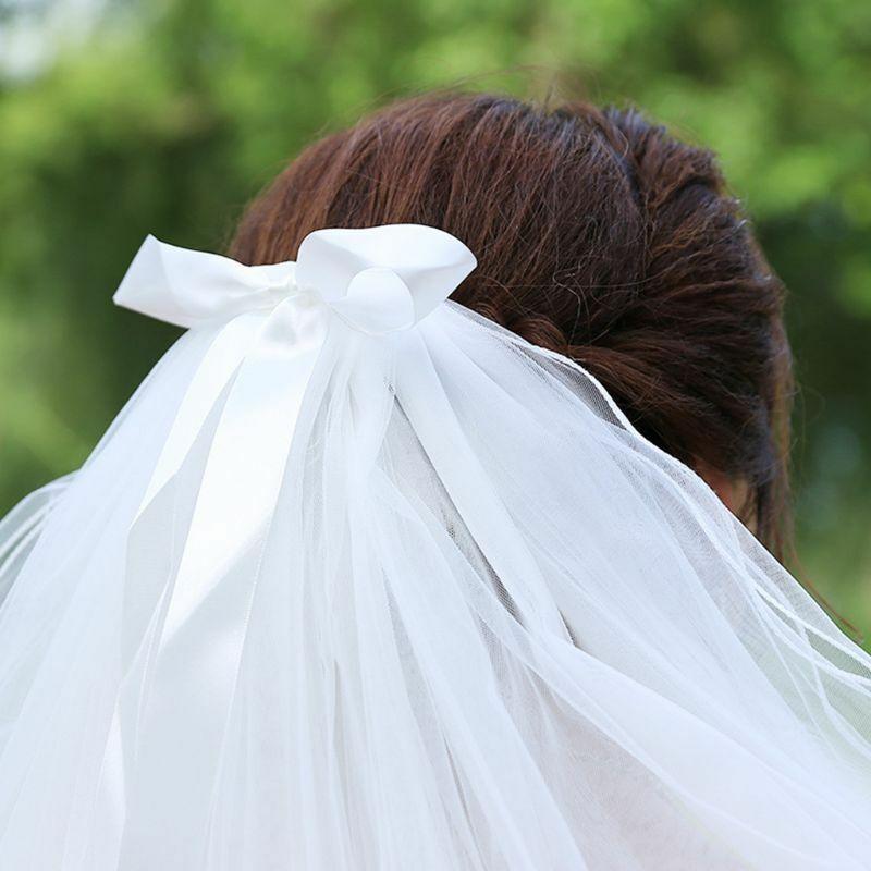 Layered Women's Wedding Veil Imitation Pearl Handmade Beaded Ribbon Decoration