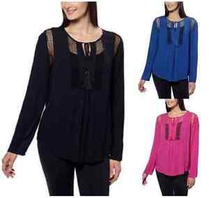 NEW-Joseph-A-Women-039-s-Crinkle-Blouse-Crochet-Detail-Loose-Fit-Top-Shirt-VARIETY