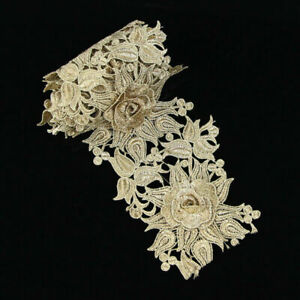 1-Yard-3D-Flower-Embroidered-Lace-Edge-Trim-Ribbon-Wedding-Dress-Sewing-Craft
