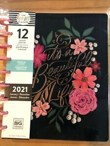 """2021 me /&my BIG Ideas The Happy Planner """"GARDEN FLOWERS"""" Classic 12 Mo.Plnr NEW"""