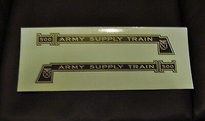 BLACK & GOLD WATERSLIDE DECAL: MARX 500 ARMY SUPPLY TRAIN LOCO ENGINE 2/SET LOOK